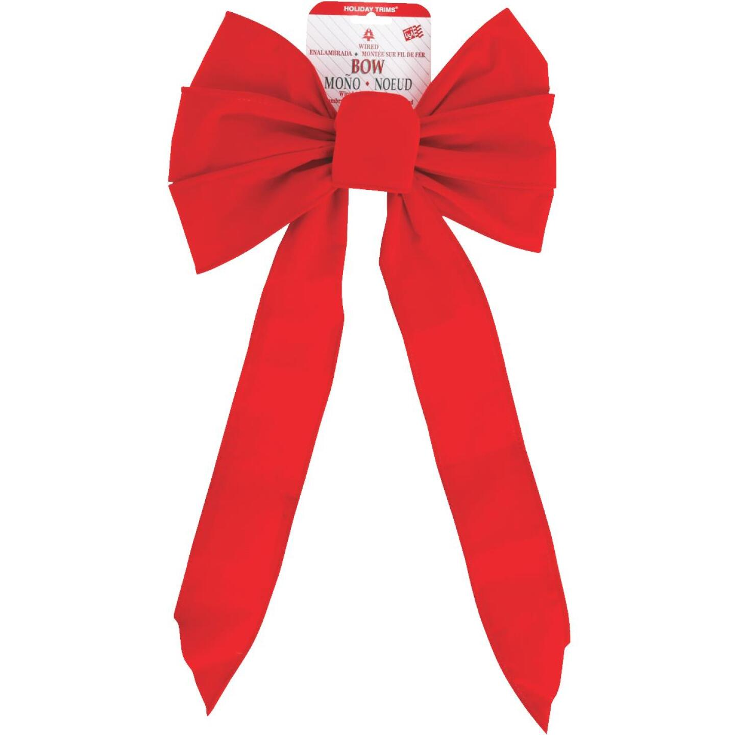 Holiday Trims 7-Loop 10 In. W. x 22 In. L. Red Velvet Wire Christmas Bow Image 2